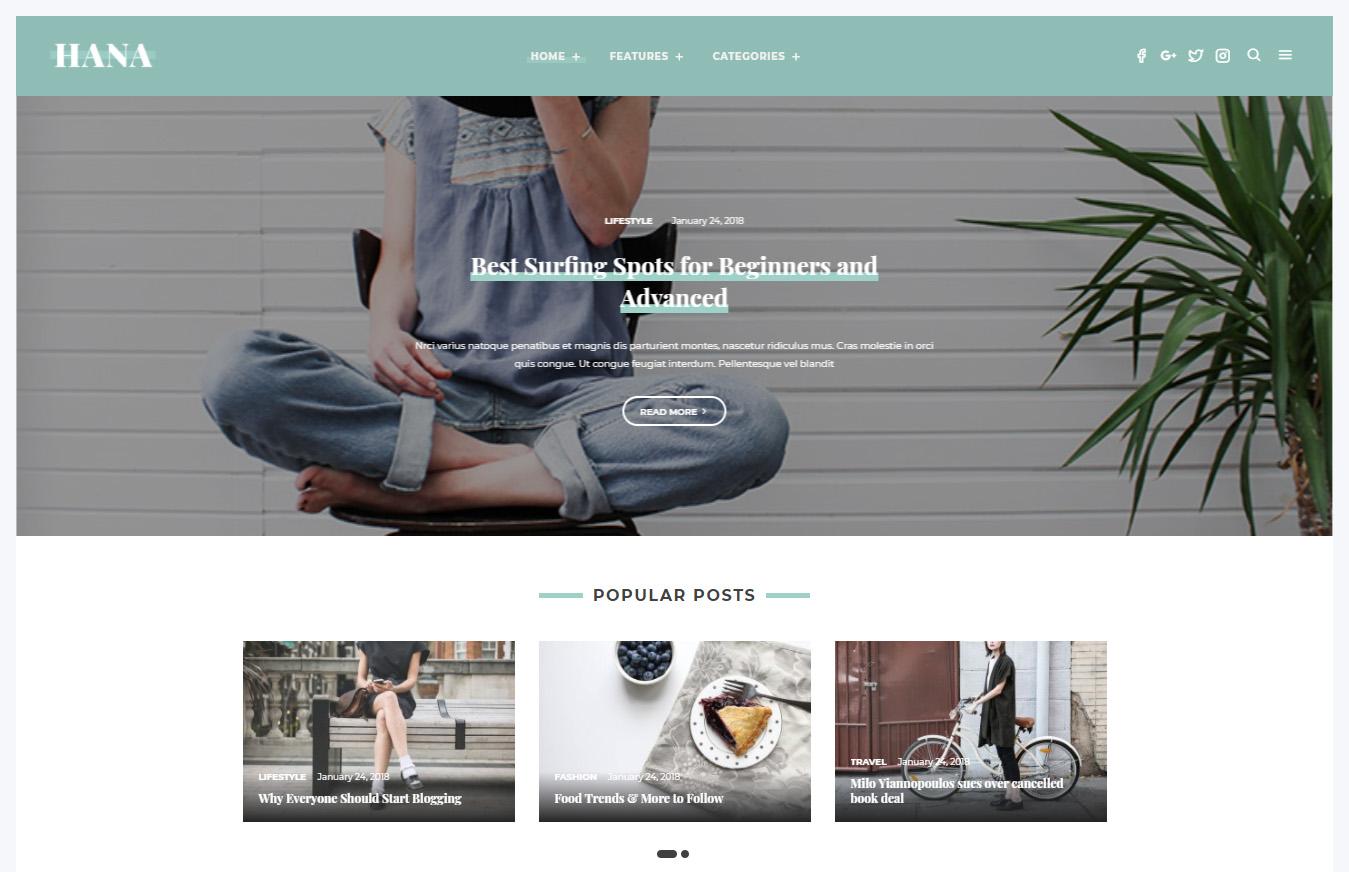 Hana – Responsive WordPress Blog Theme (Blog / Magazine)
